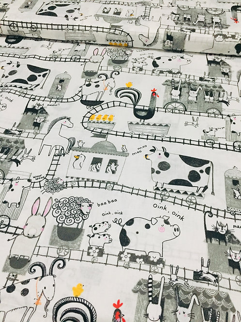 Farmyard 100% cotton fabric