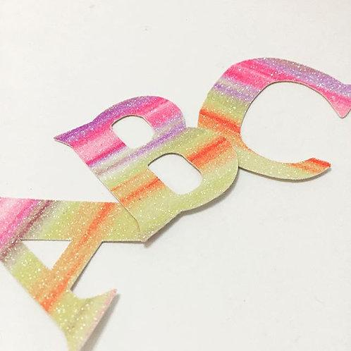 Glitter Fabric Letters, 'Sherbert' Rangeof Glitter Letters