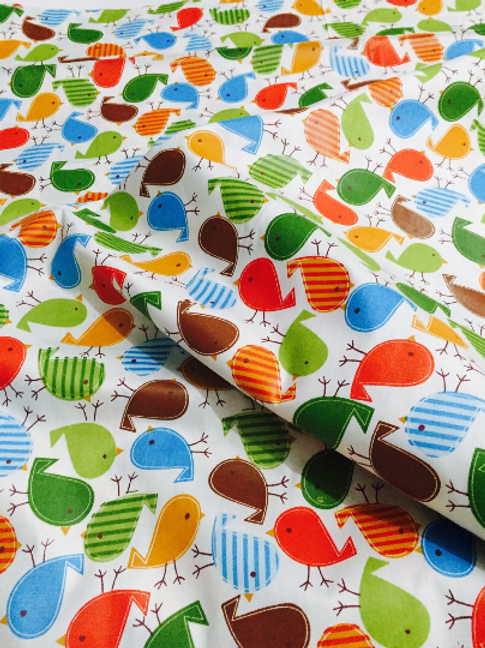 Cotton Bird Fabric, Bird Fabric, Cotton Fabric, Bright Bird Fabric, Quilting