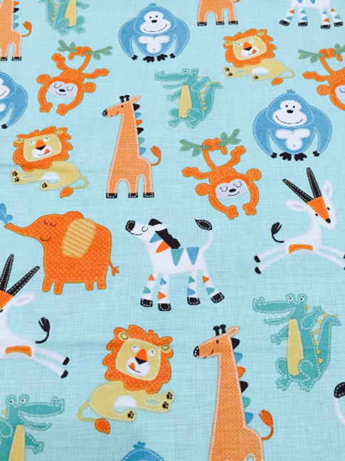 Jungle Cotton Fabric, Turquoise Fabric, Animal Fabric, Nursery Cotton Fabric