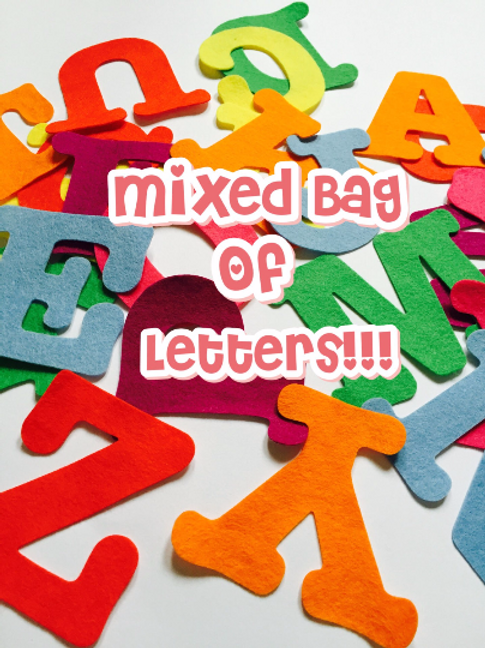 Mixed Bag Letters, Large Felt Letters, Mixed Letters, Mixed Stick On Letters