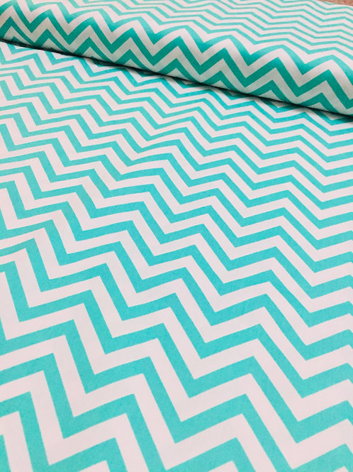 Cotton Chevron Fabric, Green Chevrons