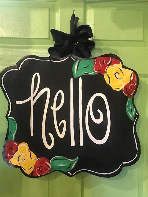 Black Red & Yellow Floral Hello Door Hanger
