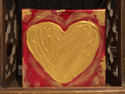 Red & Gold Heart Blessing Block