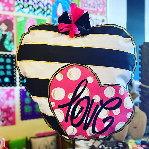 Black Stripe & Pink Heart
