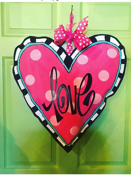 Pink & Turquoise check Heart