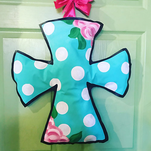 Turquoise & Pink Floral Cross