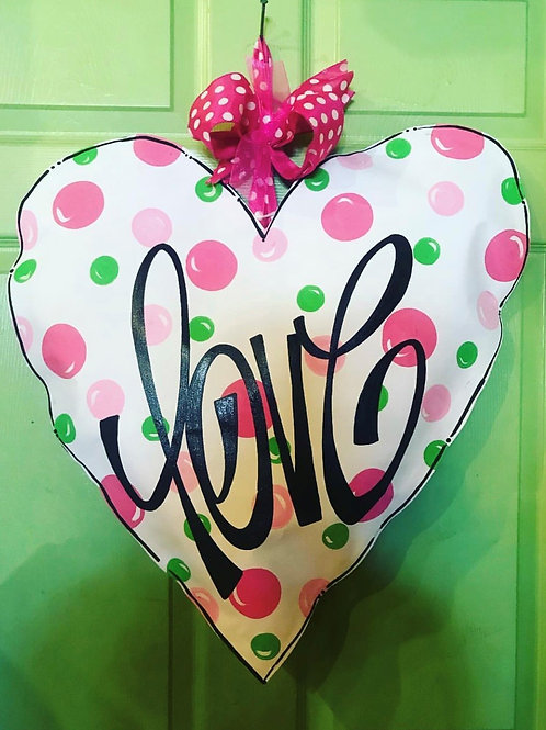 white, pink & green Heart