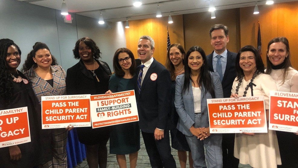 Group of public officials celebrating NY's legalization of surrogacy