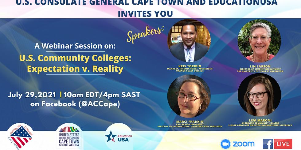 EducationUSA Webinar: U.S. Community Colleges: Expectation v. Reality