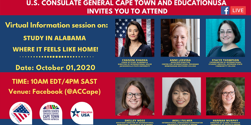 U.S. Consulate General Cape Town and EducationUSA Invites you to attend Virtual Information session on: Study in Alabama