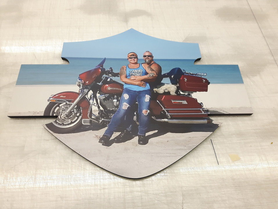 Custom-made Harley Davidson signs for my mother and her then-boyfriend