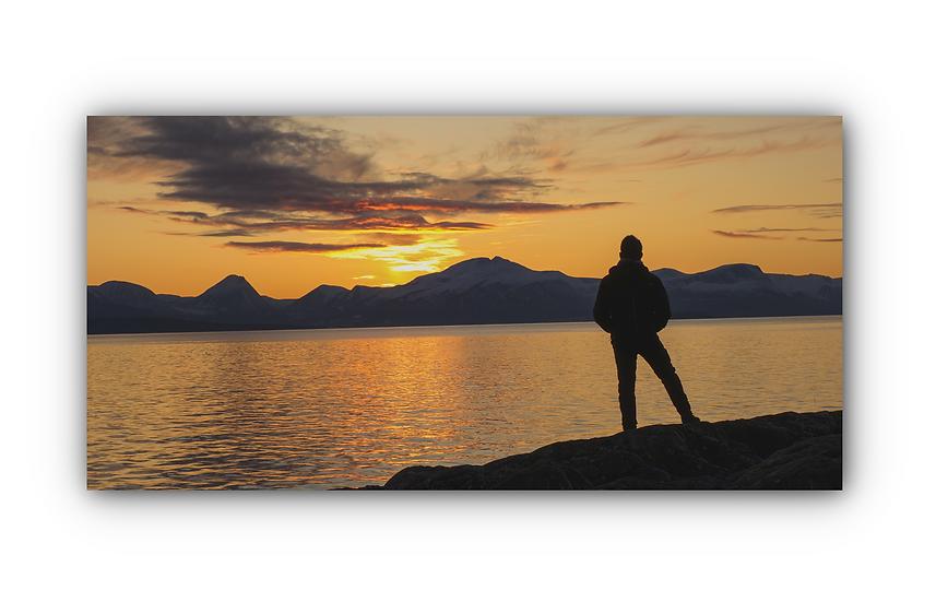Solnedgang i skyer fra Molde i Kringstadbukta IR Varmepanel Veggbilde Panelovn