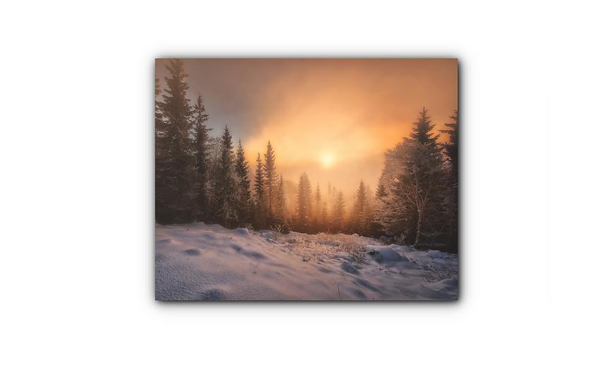 Soloppgang i vinterdekt skoglandskap IR Varmepanel Veggbilde Panelovn