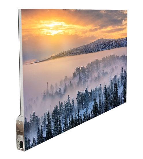 Skog- og vinterlandskap med vakkert solskinn IR Varmepanel Veggbilde Panelovn