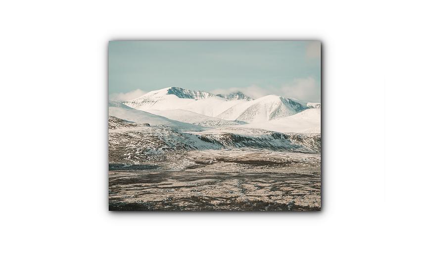 Vinterlandskap med fjell i Sollia IR Varmepanel Veggbilde Panelovn