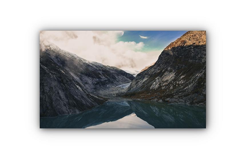 Stille vann fra Nigardsbreen i Jostedalen IR Varmepanel Veggbilde Panelovn