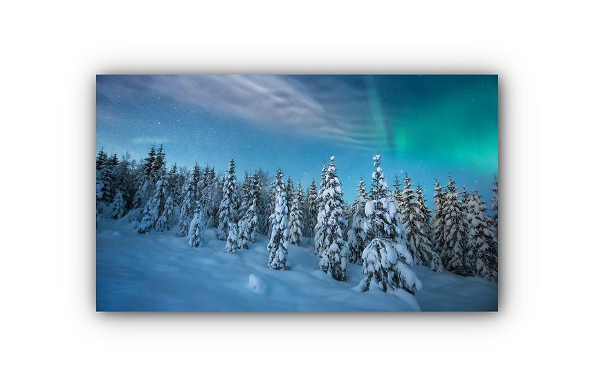 Nordlys over vakker urørt vinterskog IR Varmepanel Veggbilde Panelovn