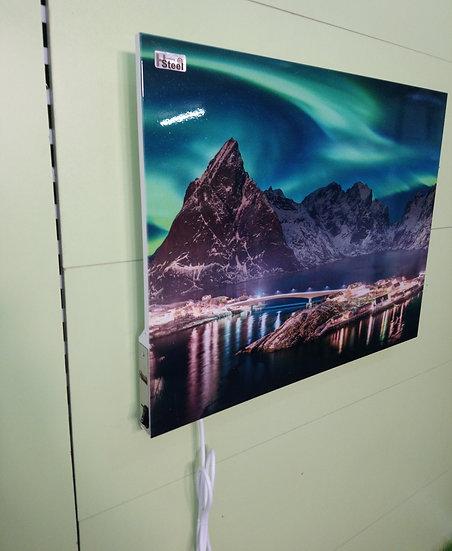 Nordlys i Reine Lofoten Sakrisøy IR Varmepanel Veggbilde Panelovn