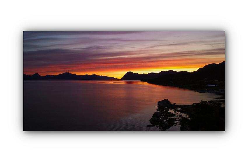 Vakker solnedgang i Molde ved Kringstadbukta IR Varmepanel Veggbilde Panelovn