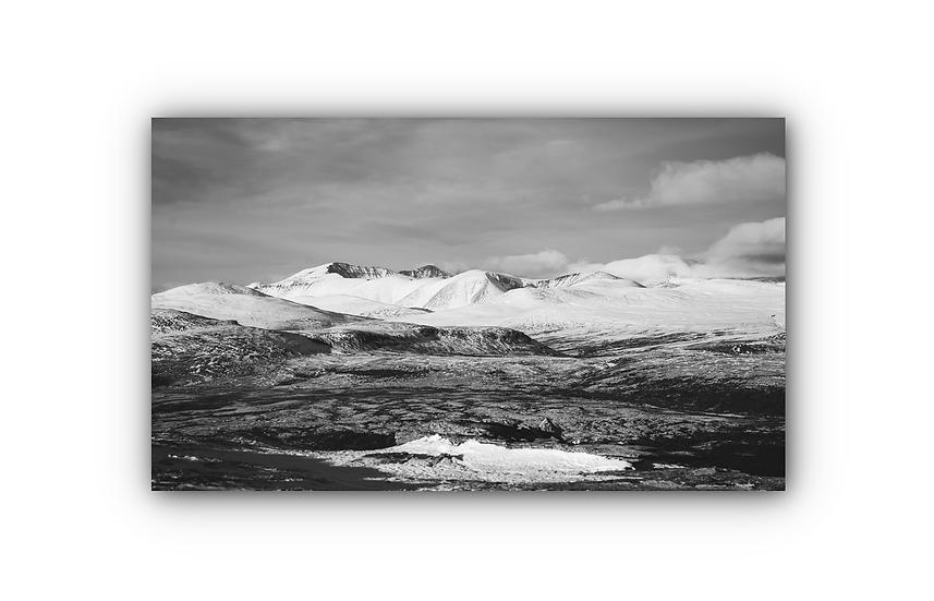 Vinterlandskap med fjell i Sollia svarthvitt IR Varmepanel Veggbilde Panelovn