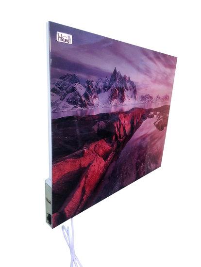 Rød solnedgang speilet i vann med fjellandskap IR Varmepanel Veggbilde Panelovn
