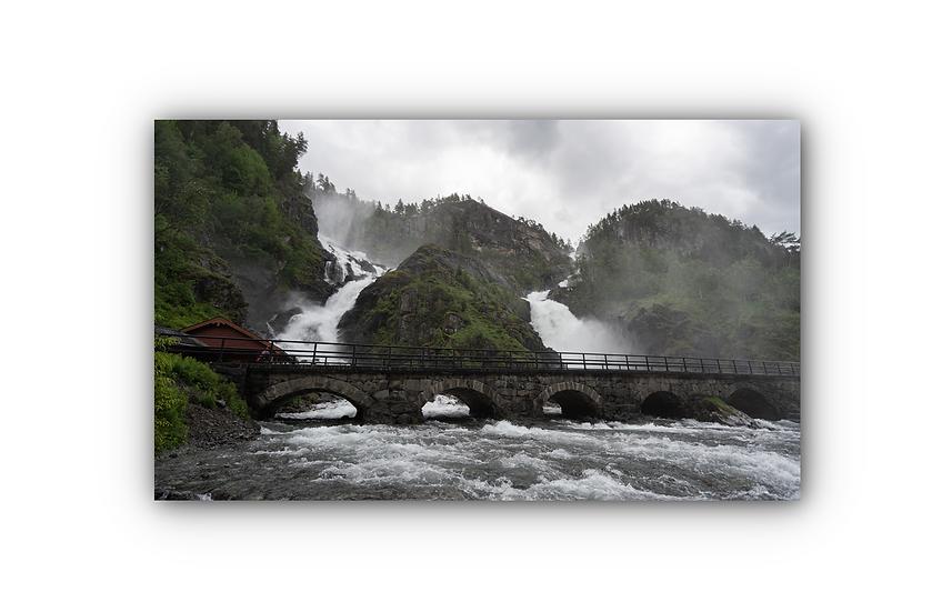 Låtefossen med bro i Odda IR Varmepanel Veggbilde Panelovn