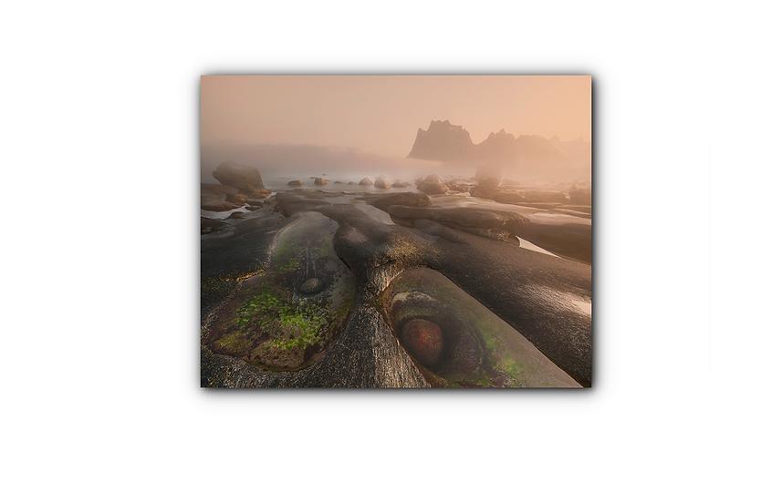 Morsomt stenlandskap etter sjø og vind IR Varmepanel Veggbilde Panelovn