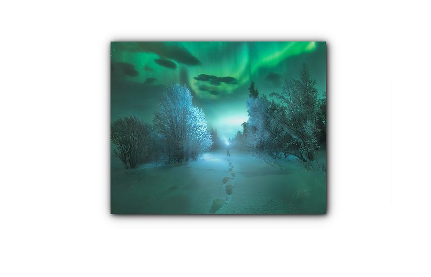 Nordlys i fantastisk vinternatt IR Varmepanel Veggbilde Panelovn