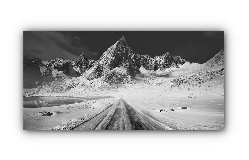 Fjell- og vinterlandskap svart / hvitt IR Varmepanel Veggbilde Panelovn