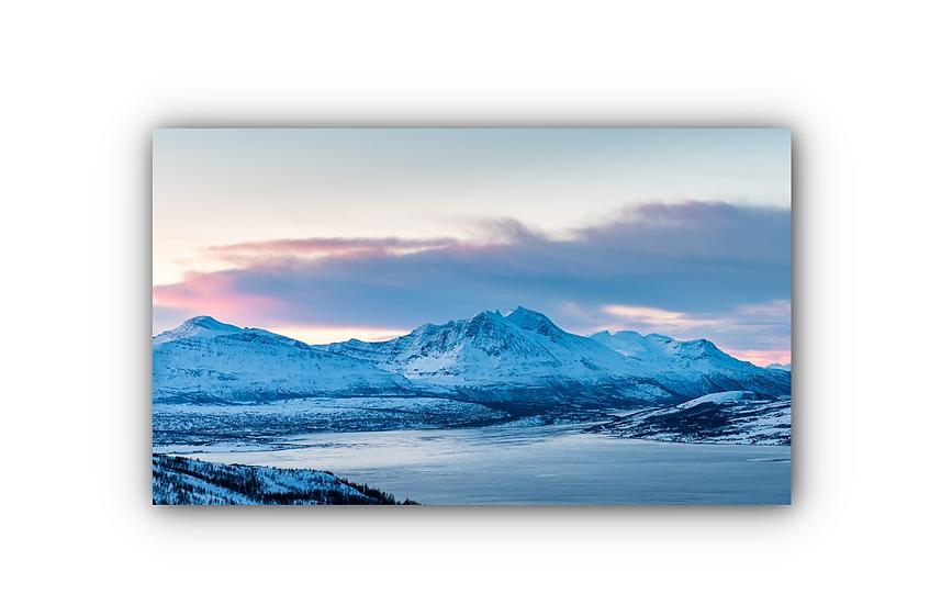 Majestetisk fjell og innsjø i Tromsø IR Varmepanel Veggbilde Panelovn