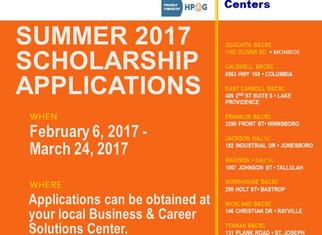 Summer 2017 Scholarship Applications