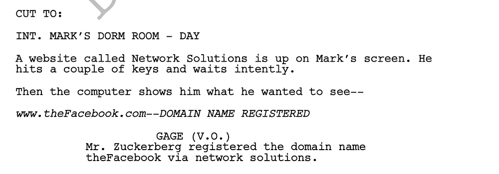 The Social Network Script