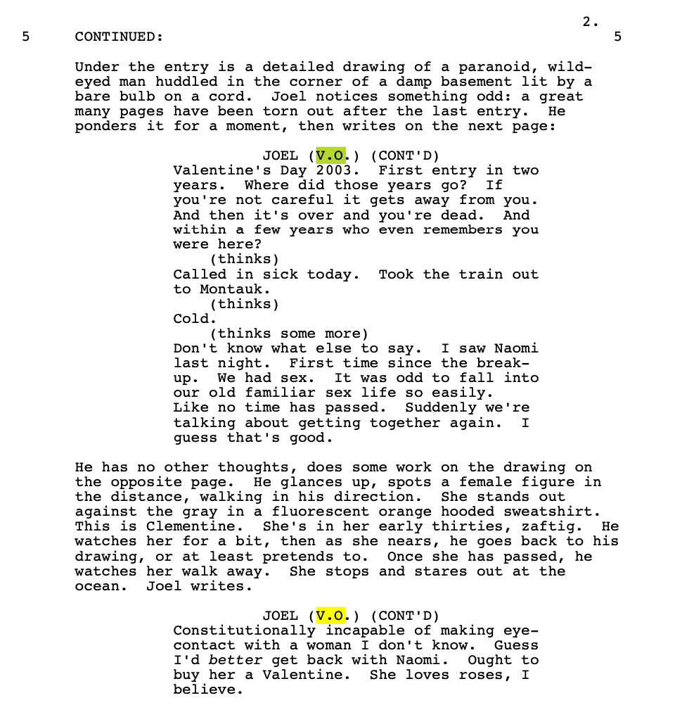 Eternal Sunshine of the Spotless Mind Script