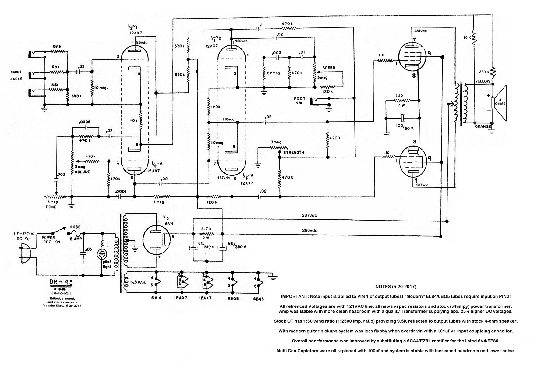 Vintage tube amplifier schematic