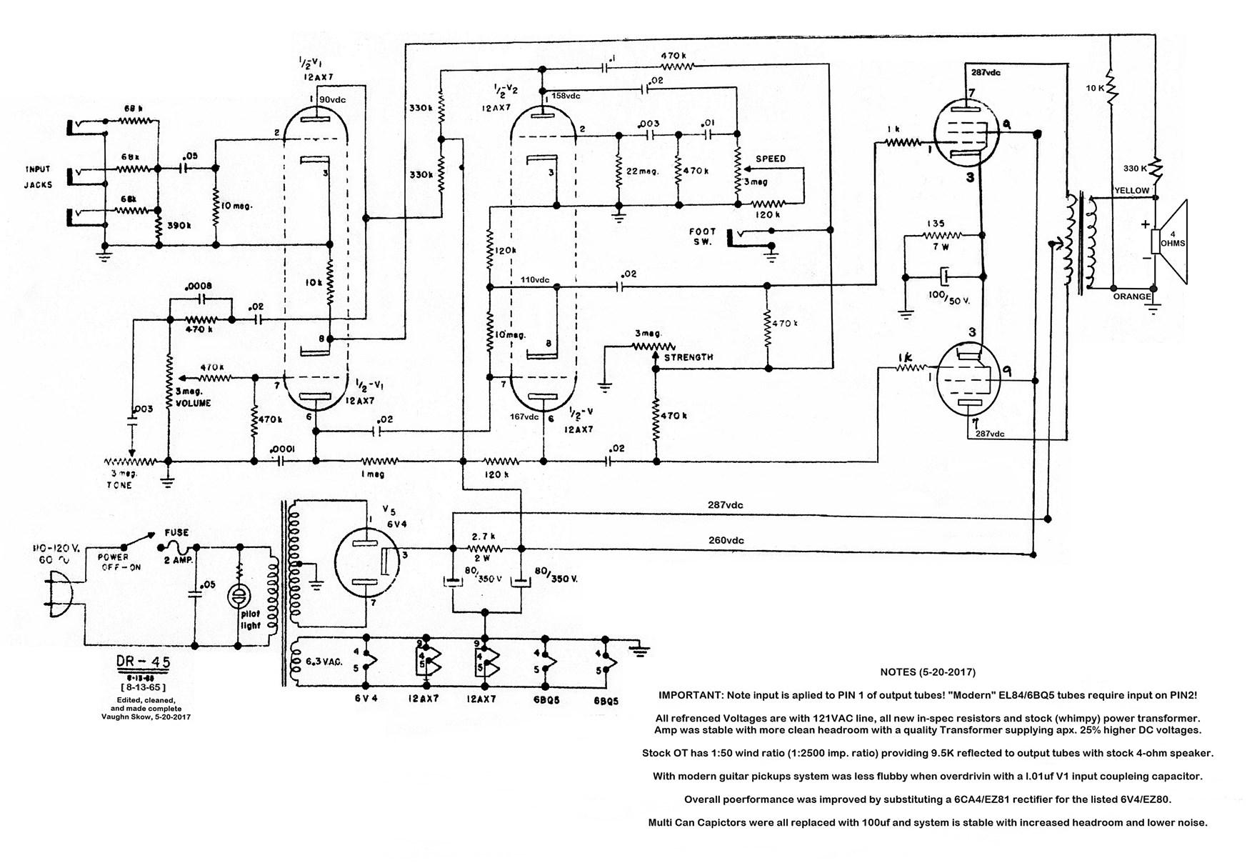 Vintage Kent DR54 Tube Amp schematic