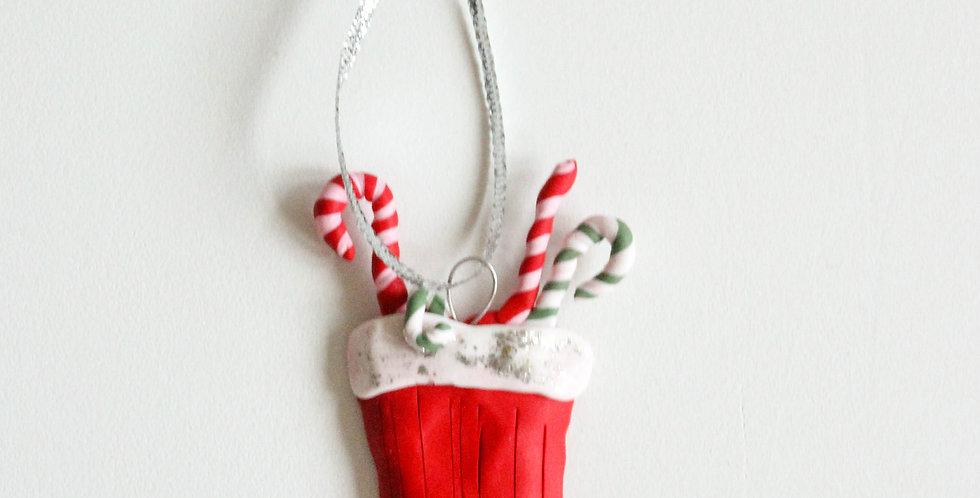 Julepynt strømpe sølvglitter 2