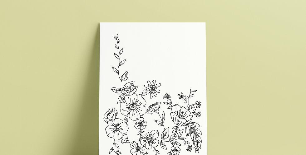 Postkort: Sigurd og Eli blomster i hagen