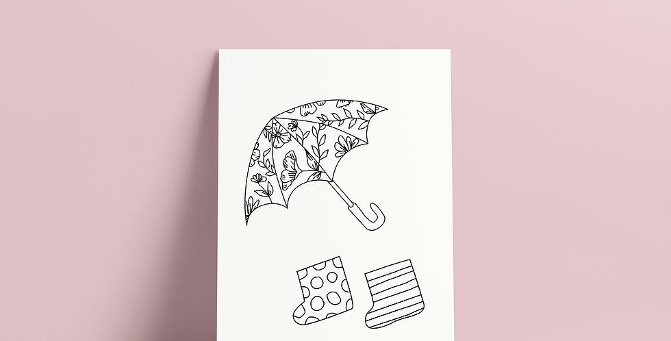 Postkort: Sigurd og Eli regntøy