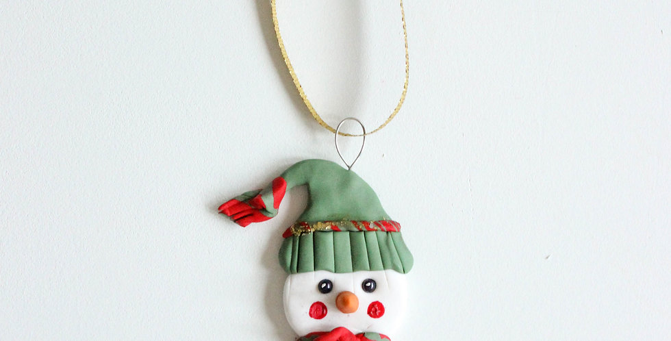 Julepynt snømann med lue 1
