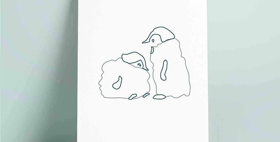 A4 fargelegging motiv:pingviner