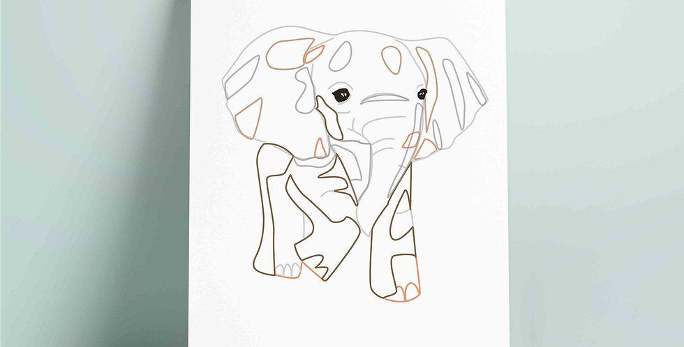 A4 fargelegging motiv: elefant
