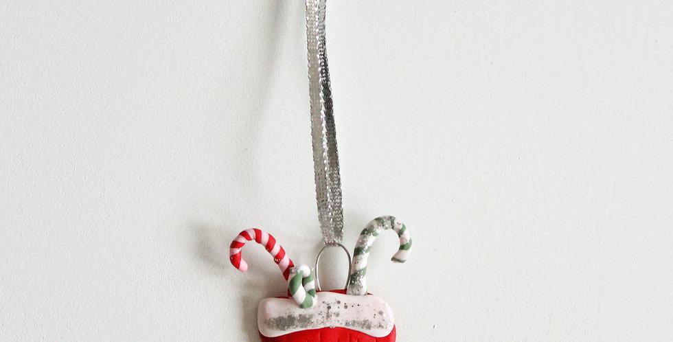 Julepynt strømpe sølvglitter
