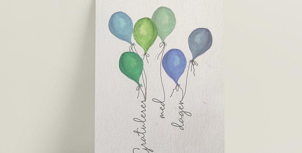 Kort: Gratulerer med dagen blå/grønn