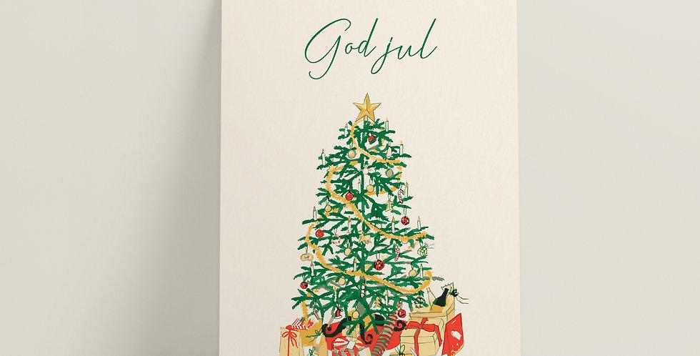 Kort: God jul juletre