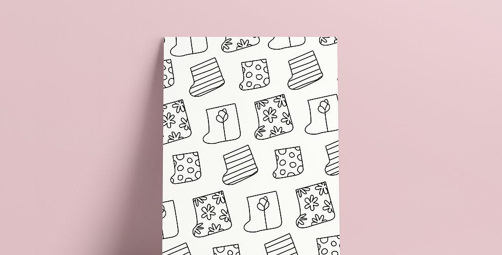 Postkort: Sigurd og Eli mønster av regnstøvler