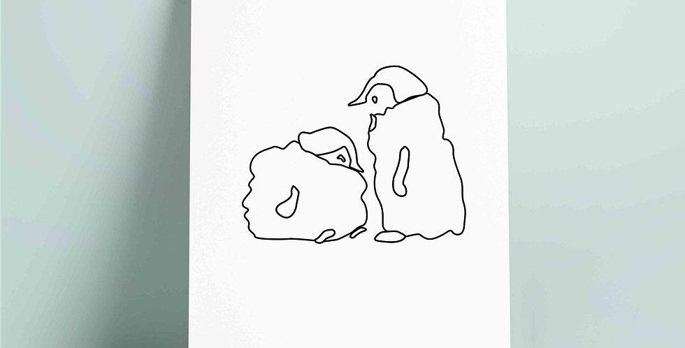 SORT A4 fargelegging motiv:pingviner