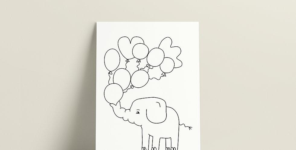 Postkort: Sigurd og Eli blåser ballonger