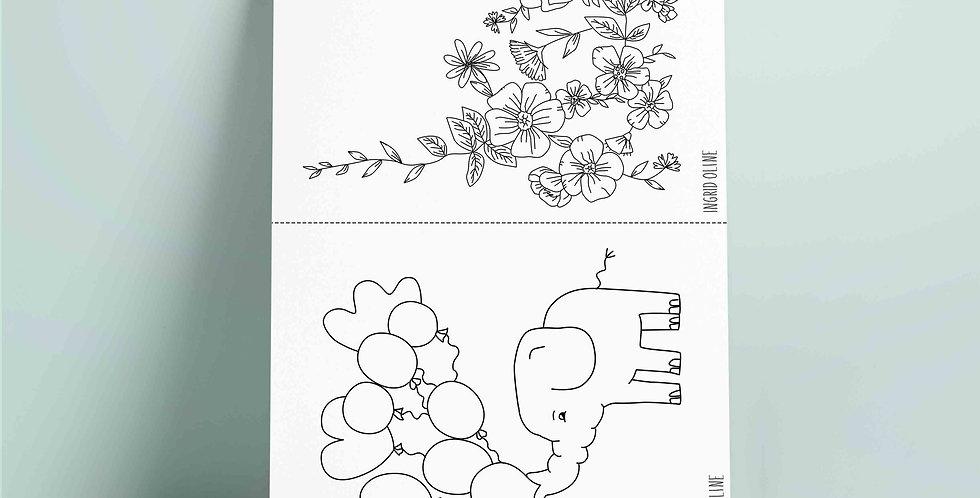 2 x A5 fargelegging motiv: Elefant og blomster