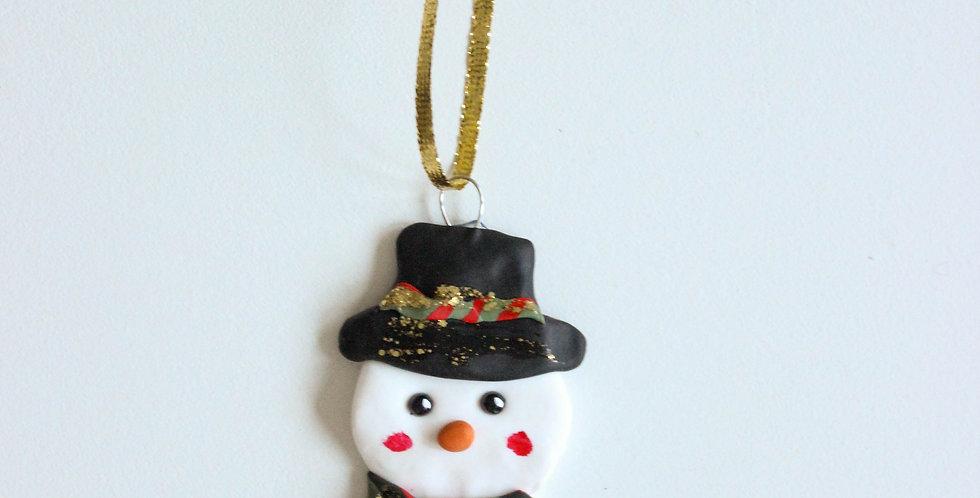 Julepynt snømann med hatt